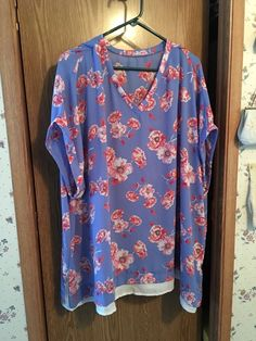 Ladies Tunic Cornflower Blue Peach Poppies V Neck Short Sleeve & Zippers 3X  #Unbranded #Tunic #AnyOccasion