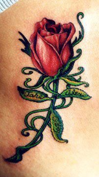 Rose with Names in Leaves Tattoo done by Ray Basaldua at Ink N Fusion in Charlotte, NC
