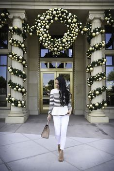 How to wear white jeans after Labor Day - stripe peplum sweater, white jeans, casual fall outfit, business casual