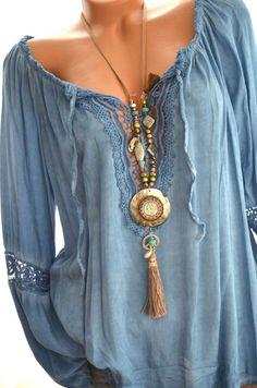 ITALY Häkel Tunika CARMEN Häkelspitze HIPPIE BOHO Bluse 36 38 40 42 BLAU Neu in Kleidung & Accessoires, Damenmode, Blusen, Tops & Shirts | eBay!