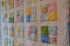 Baby Patchwork quilt scandinavian style by QuiltsByMailisDesign