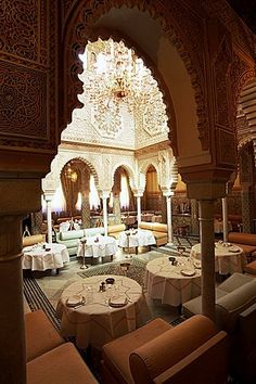 size: Photographic Print: Interior View of Moroccan Restaurant, La Mamounia Hotel, Marrakech, Morocco, North Africa by Lee Frost : Artists Moroccan Design, Moroccan Decor, Moroccan Style, Moroccan Colors, Moroccan Bedroom, Moroccan Lanterns, Mamounia Marrakech, Marrakech Morocco, Art Et Architecture