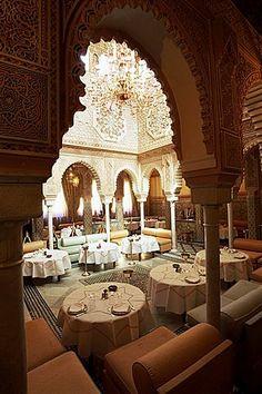 Interior view of Moroccan Restaurant, La Mamounia Hotel, Marrakech, Morocco, North Africa