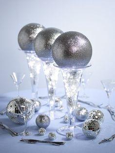 Glitter ball flower table centerpieces