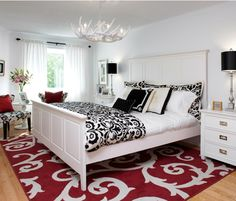 red, white and black bedroom