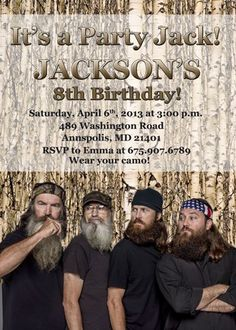 duck dynasty party invitations | Duck Dynasty Birthday Party Invitation - Printable Digital File ...
