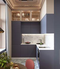 Home Decor Kitchen, Kitchen Interior, Home Kitchens, Tiny Spaces, Small Apartments, H Design, House Design, Mini Loft, House Inside