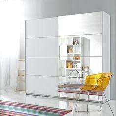 Totowa 2 Door Sliding Wardrobe Mercury Row Size: x x Colour: White Buy Wardrobe, Corner Wardrobe, Ikea Wardrobe, 3 Door Sliding Wardrobe, Sliding Doors, Laundry Shelves, Wardrobe Furniture, Hanging Rail, Mirror Door