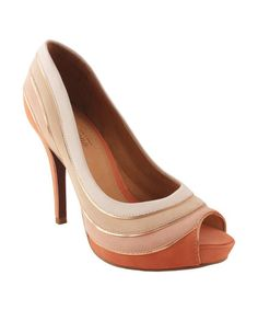 Another great find on #zulily! Peach & Crème Tiered Color Block Leather Peep-Toe Pump #zulilyfinds