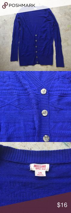 Bright Blue Cardigan Boyfriend style cardigan with buttons. Bright blue with Aztec-style detail. RRB loves offers but is unable to trade at this time. ~{We are ALL beautiful.}~ NWOT. Mossimo Supply Co Sweaters Cardigans