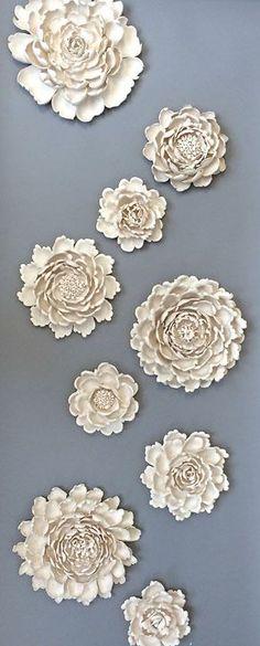Flowers! Syra Gomez Porcelain wall art sculpture installation,  interior art