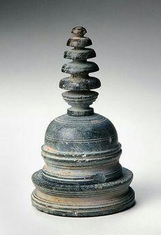 Miniature stupa  Place of Origin:Pakistan, former kingdom of Gandhara  Date:approx. 100-150  Materials:Schist  Dimensions:H. 18 cm x Diam. 9.8 cm, H. 7 1/16 in x Diam. 3 7/8 in
