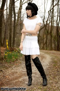 All white outfit, white crop top, white ruffle skirt, black over the knee boots, black boater hat, black bob, spring white outfit