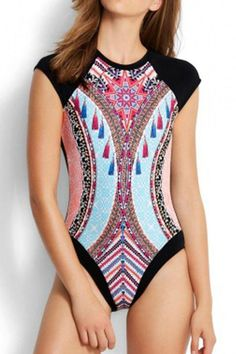 f31773acfd Cape Shoulder Cutout Back Printed Surfing Bathing Suit