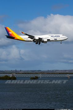 Air Pacific DQ-FJK aircraft at Auckland Int photo Commercial Plane, Commercial Aircraft, Thermal Spraying, International Civil Aviation Organization, Airport Design, Boeing 747 400, Birds In The Sky, Gas Turbine, Passenger Aircraft