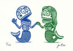 Mermaid Dia de Los muertos
