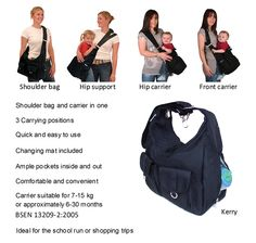 The Baby and All Bag, a changing bag and baby carrier in one!! www.debraclare.com