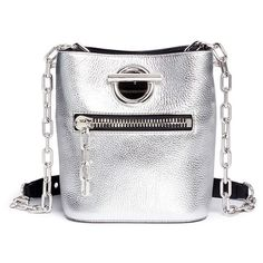 Alexander Wang 'Riot' leather chain bucket bag (41.950 RUB) ❤ liked on Polyvore featuring bags, handbags, shoulder bags, metallic, white handbags, white purse, leather holdall, metallic handbags and leather purses