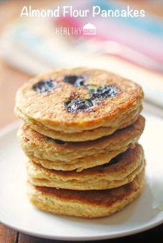 Almond Flour Pancakes - almond flour, baking soda, kosher salt, eggs, vanilla extract, whole milk (would sub almond), butter (for the griddle), fresh blueberries