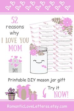 This DIY kit of 52 Reasons Why I Love You is excellent sentimental gift for Mom (thoughtful Mom gift)! Please visit our website to buy it now! #motherslovequotes #thankyoumomquotes #sentimentalgifts #diygiftsformom #thoughtfulgifts #momgift #mumthankyougift #romanticloveletterss