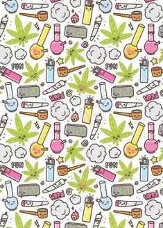 'Kawaii marijuana / Cute weed' Chiffon Top by dmitriylo Cannabis Wallpaper, Weed Wallpaper, Tumblr Wallpaper, Aesthetic Iphone Wallpaper, Drugs Art, Stoner Art, Weed Art, Dope Wallpapers, Psychedelic Art