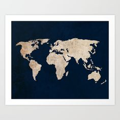 Inverted Rustic World Map - $19