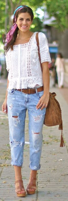 Free People White Peplum Lace And Crochet Detail Blouse by TrendyTaste