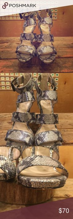 Vince Camuto Silver Snake Skin Print Heels Feel the rhythm and dance, dance, dance in these puppies! Gorgeous snake skin print with all the sass you could hope for! Excellent condition, worn once. Vince Camuto Shoes Heels