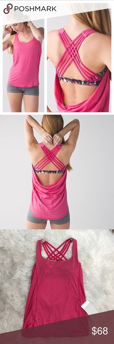 • Lululemon • Wild Tank Top Bon Bon Butterfly 4 - Lululemon - Wild Tank Top - Bon Bon So Fly Butterfly  - Angel Wing - Strappy Back - Pink - Removable Pads - Size 4 - New with Tags - Rare & Sold Out  - No Trades lululemon athletica Tops Tank Tops