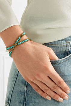Chan Luu - Leather, Gold-tone, Turquoise And Swarovski Crystal Wrap Bracelet - one size