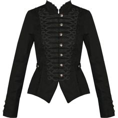Womens Ladies New Black Gothic Steampunk Military Cotton Tailcoat Coat... ($64) ❤ liked on Polyvore featuring outerwear, jackets, military style coat, black military coat, black coat, military coat and steam punk coat