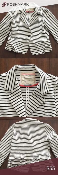 Anthropologie Striped Blazer ❤️ this!! Black and white striped blazer with ruffled detail by Cartonnier from Anthropologie. Such a perfect feminine piece. Nice Preowned condition with some light signs of wear. No holes or stains. Smoke free home. One of my favorites! Anthropologie Jackets & Coats Blazers