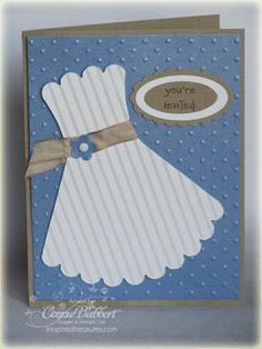Bridal Shower Invitation by Inkspired Treasures. Coordinate the bride's colors in your bridal shower invite using kraft cardstock as the card base.  Emboss your color using the Swiss Dots Cuttlebug Folder.  Shop hundreds of colors and styles of cardstock at www.cardstockshop.com.