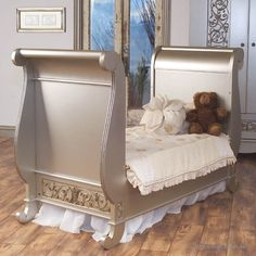 Toddler Bed Kit in Antique Silver - Chelsea Sleigh Crib  -------------------------  I love this crib that turns in to a sleigh toddler bed.