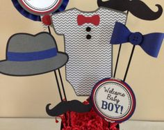 Little Man Mustache Birthday Party Centerpiece door DivaDecorations