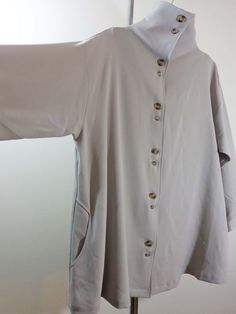 Blanque jacket lagenlook top artsy art to wear gray high collar imperial sz OS #Blanque #BasicJacket