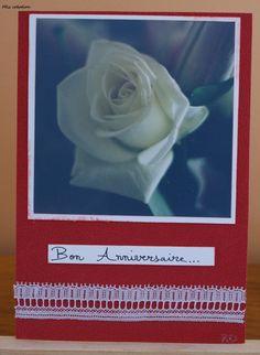Carte anniversaire, thème fleuri, coloris rouge et blanc