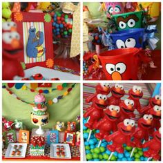 Sesame Street Party Ideas 2- love those buckets could do those pretty easily!