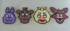 Five Nights at Freddy's Perler Bead Sprites ( Set ) by 8bitBalliet on Etsy https://www.etsy.com/listing/216074433/five-nights-at-freddys-perler-bead