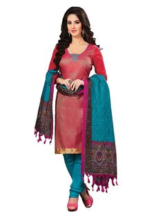 Captivating red color jute silk kameez. Item Code : SLEB13003 www.bharatplaza.com/new-arrivals/salwar-kameez.html