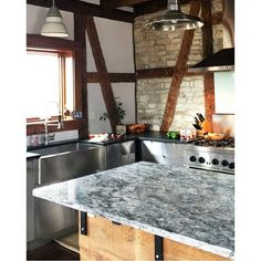 Love this exotic accent island created using our Slate countertop paint kit!  #diy #paint #home #homeimprovement #homedecor #pinterest #blogger #light #kitchen #creative #crafty #design #style #interiordesign #renovation #white #remodel #gray