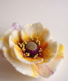 Felted Flower Brooch Hair Clip Wool Felt Jewelry ♥ by FeltFatal, $21.00