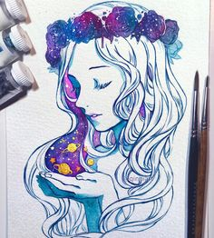 Galaxy . - Timelapse on my tumblr. Tools:  3 gouache colours (Windsor&Newton) Size 1 and 4 watercolour brushes 100% cotton 140lb cold press watercolour paper local art store brand (Opus) W&N gold ink. - Thank you guys for all the kind comments and messages on my last post. I'm going to look into topical creams for my scar. I'm probably not going to get a tattoo as much as i'd love to because I don't want to risk it with me taking blood thinners (at least doctors advise against it). Though…