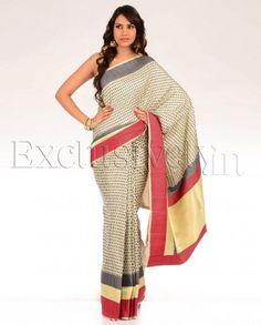 #Exclusivelyin, #IndianEthnicWear, #IndianWear, #Fashion, Cream Sari with Woven Pattern
