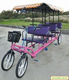 A beautiful 6 person Surrey Bike – Toys Ideas Electric Tricycle, Electric Cars, Bici Retro, Velo Cargo, Tricycle Bike, Food Truck Design, Pedal Cars, Bike Design, Tandem