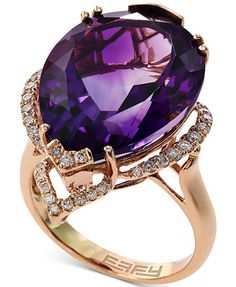 Lavender Rose by EFFY Amethyst (15-1/5 ct. t.w.) and Diamond (1/3 ct. t.w.) Ring in 14k Rose Gold