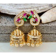 Gemstone Leaf Jhumka Earrings with American Diamonds