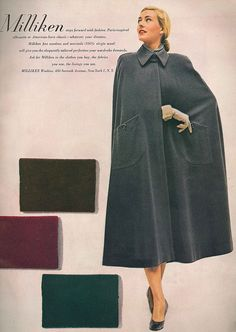 Showcasing the array of colours that this long, stylish 1940s cape coat came in. #vintage #1940s #fashion