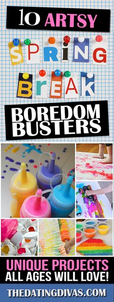 60 Spring Break Boredom Busters For Kids- TONS of arts and crafts ideas to keep them busy