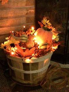 Fall decor, fall arrangement, fall DIY decor, outdoor decor, basket, Apple basket, bushel, leaves, lights, pumpkins, front porch decor, fall porch ideas, thanksgiving, autumn #afflink